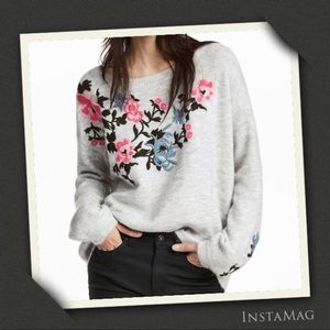 H&M Floral Embroidery Knit Sweater